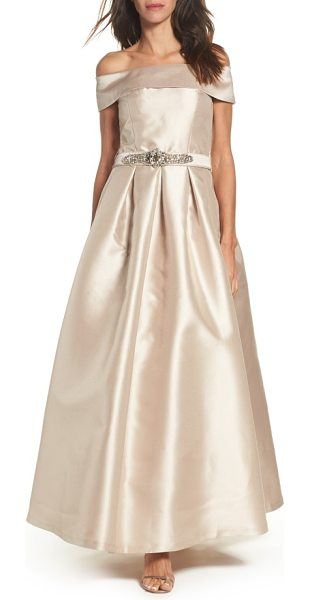 Eliza J belted mikado ballgown in champagne - The fold-over neckline of this lustrous gown balances...