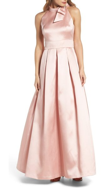 Eliza J bow halter neck mikado ballgown in blush - Dramatic details like the bow-tie halter neck and a lush...