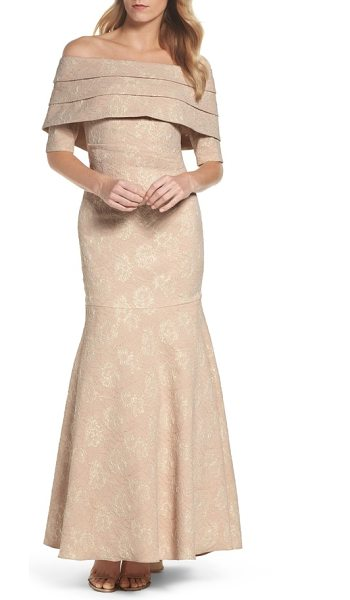 ELIZA J brocade off the shoulder trumpet gown - A shutter-pleated drape adds elegant structure at the...
