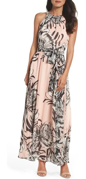 ELIZA J chiffon maxi dress in blush - Face-framing pleats crown the bodice of this romantic,...