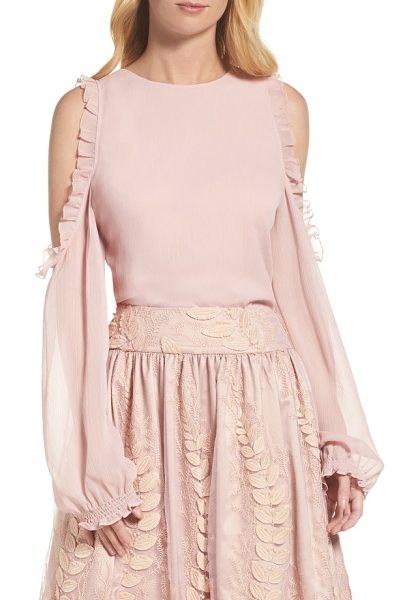 Eliza J cold shoulder top in rose - Delicate ruffles and crinkled chiffon add a romantic...