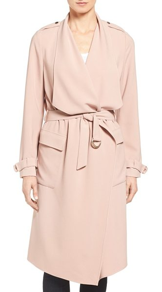 Eliza J drape front water repellent wrap trench coat in blush - A wide, draping collar and pale pink tone define this...