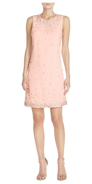 Eliza J embellished crepe shift dress in blush - A twinkling, rhinestone-dotted wonderland fronts a...