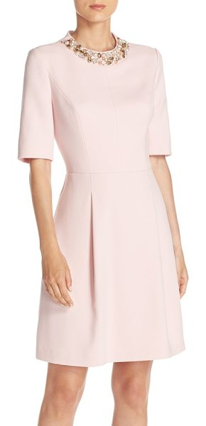 Eliza J embellished double crepe fit & flare dress in blush - A dazzling bejeweled neckline crowns a double-woven...