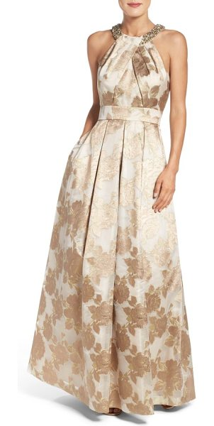 Eliza J embellished floral jacquard fit & flare gown in champagne - Faux pearls and crystals add even more glam to this...