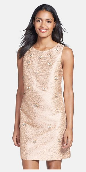ELIZA J embellished jacquard shift dress - Bursts of beads and crystals front a lustrously woven,...