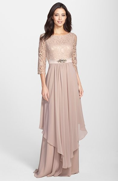 ELIZA J embellished lace & chiffon gown - An enchanting dusty-rose shade saturates this...
