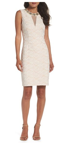 ELIZA J embellished lace sheath dress - Lustrous crystals highlight the rounded neckline and...