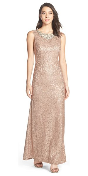 ELIZA J embellished neck lace gown - An elegant floor-length gown in sequin-flecked lace...