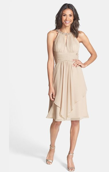 Eliza J embellished neck layered chiffon fit & flare dress in champagne - From the beaded neckline and shirred keyhole bodice to...