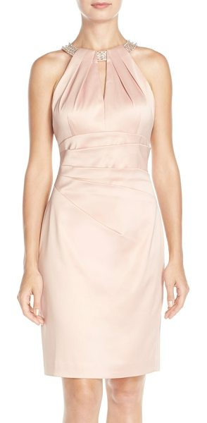 Eliza J embellished neck sheath dress in peach - Scintillating beads and jewels circle the neck of a...