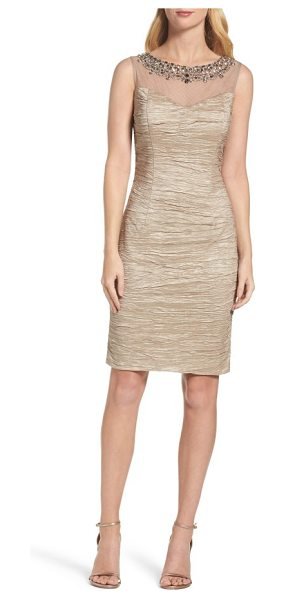 Eliza J embellished sheath dress in taupe - Ornate beading lights up the illusion yoke of a...