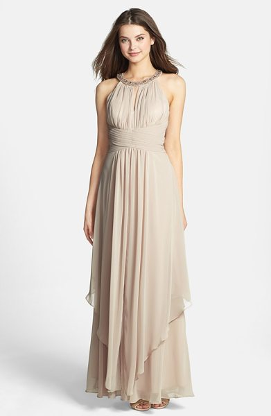 Eliza J embellished tiered chiffon halter gown in champagne - An opulently embellished halter neckline anchors the...