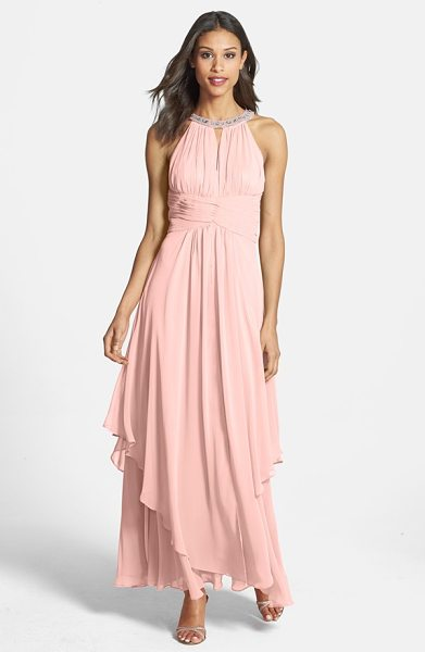 Eliza J embellished tiered chiffon halter gown in blush - An opulently embellished halter neckline anchors the...