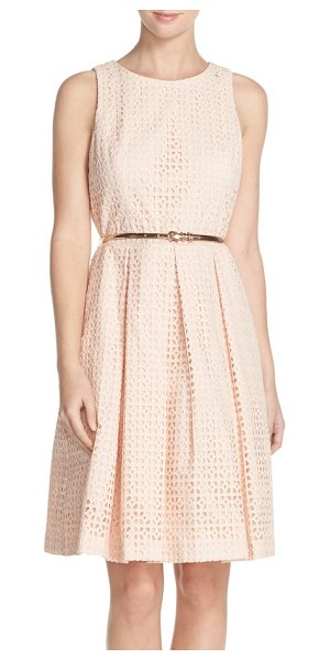 Eliza J eyelet cotton fit & flare dress in blush - Crafted from breezy eyelet cotton, this summery...