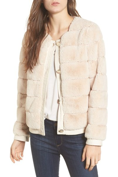 Eliza J faux fur jacket in sand - Lush faux fur with channel-grooved detailing adds...
