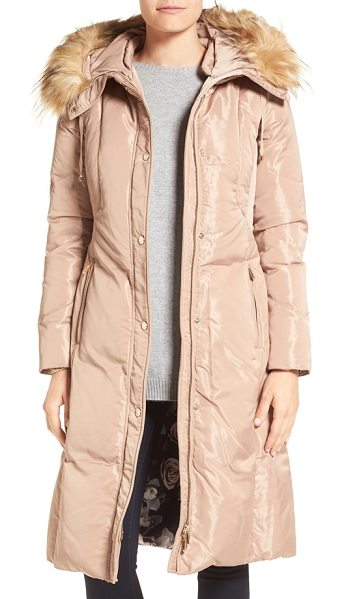 Eliza J faux fur trim hooded long down coat in taupe - High-loft down fill and an extended silhouette provide...