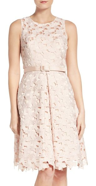 Eliza J fit & flare dress in blush - Lacy cutouts overlay this belted, pleat-flared cocktail...
