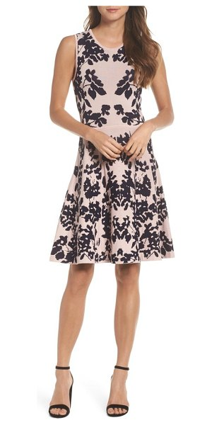 ELIZA J fit & flare sweater dress in pink/ navy - As soft as your favorite sweater and polished enough for...
