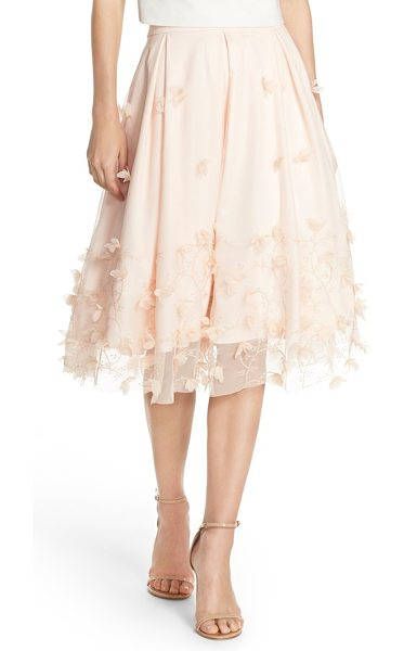 Eliza J floral applique ball skirt in blush - Shimmery embroidery and petal appliques trace floral...