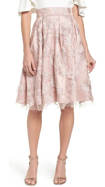 ELIZA J floral embroidered skirt - This blush-hued skirt shrouded in a wispy...