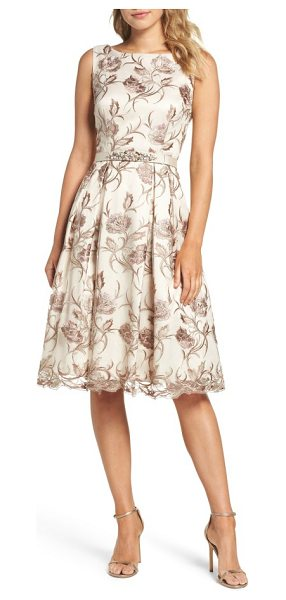 Eliza J floral fit & flare dress in mauve - Metallic floral embroidery and a crystal-encrusted belt...