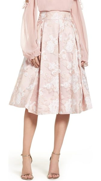 Eliza J floral print organza midi skirt in blush - Achromatic blossoms pattern the lightweight organza of...