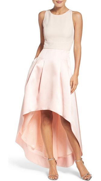 Eliza J high/low gown in blush - Classic princess meets modern edge in this structured...