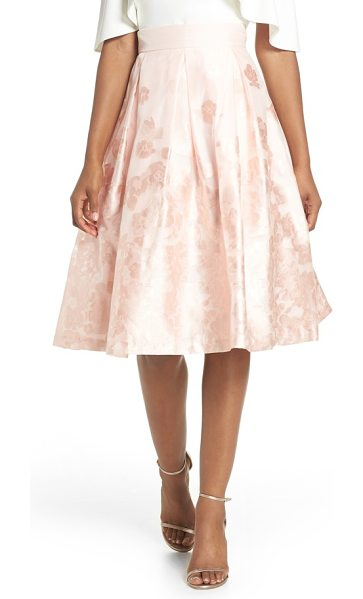 Eliza J jacquard a-line skirt in blush - Burnout flowers bloom across this organza skirt flared...