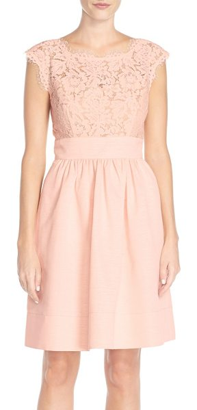 Eliza J petite   lace & faille dress in blush - A gauzy illusion yoke and short cap sleeves update a...