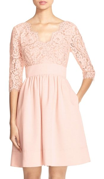 Eliza J lace & faille dress in light pink - A lace overlay fashions the elbow-length sleeves and...