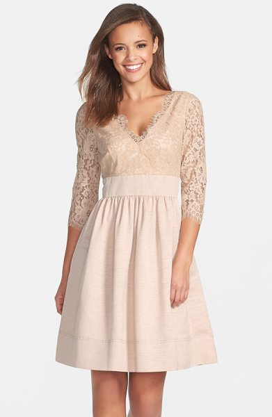 Eliza J lace & faille dress in beige - A lace overlay fashions the elbow-length sleeves and...