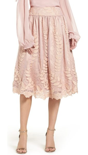 Eliza J lace midi skirt in nude - Delicate vines climb up this lace midi skirt flared with...