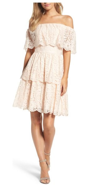 Eliza J lace off the shoulder dress in blush - This tiered dress features bare shoulders and floral...