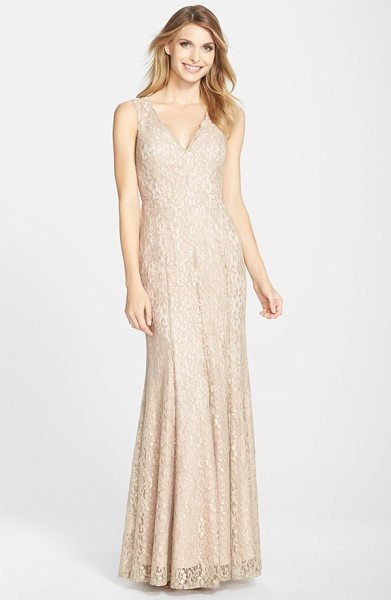Eliza J lace v-neck trumpet gown in champagne - Gorgeous champagne lace is shaped into a sophisticated...