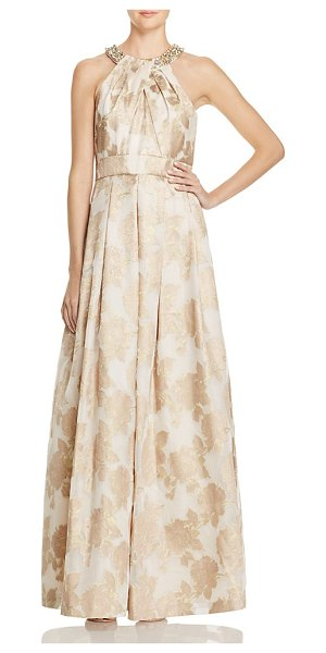 Eliza J Metallic Floral Gown in champagne - Eliza J Metallic Floral Gown-Women
