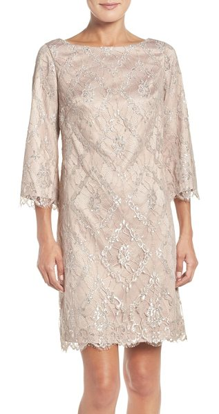 Eliza J metallic lace a-line dress in nude/ silver - Tinsel details light up the gauzy laze of this graceful,...