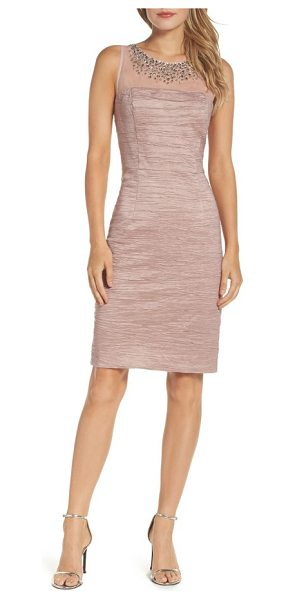 ELIZA J metallic sheath dress - Flickering beading lights up the illusion yoke of a...