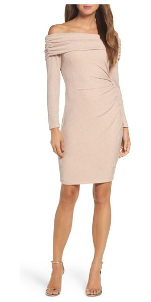 Eliza J off the shoulder sheath dress in blush - This sheath with just enough stretch fits in all the...