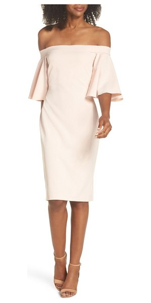 Eliza J off the shoulder sheath dress in pink - Flouncy bell sleeves and a vibrant hue make this...