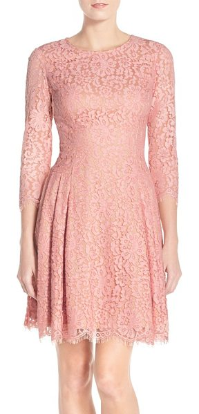 Eliza J pleat lace fit & flare dress in blush - Meticulous pleating at both hips enhances the swingy...