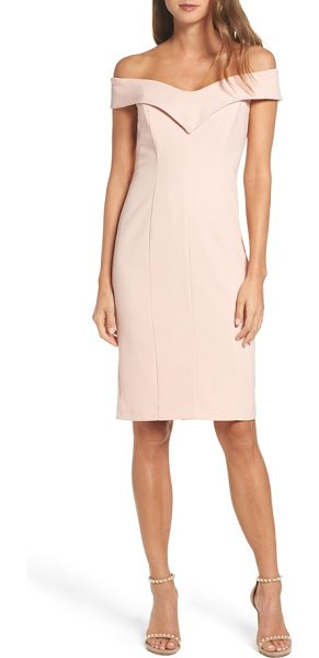 Eliza J portrait collar sheath dress in blush - This crepe dress is elegant with a shoulder-baring...