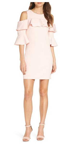 Eliza J ruffle cold shoulder shift dress in pink - Cold-shoulder tiered sleeves and a ruffled bodice define...