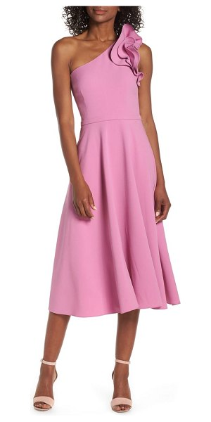 Eliza J ruffle one-shoulder fit & flare dress in pink