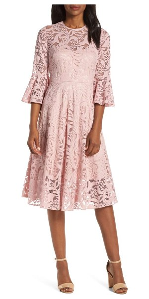 Eliza J ruffle sleeve fit & flare lace dress in pink