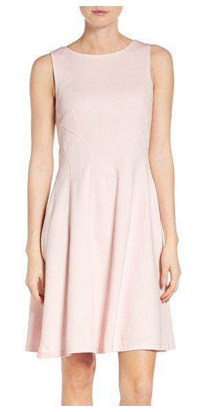Eliza J seamed fit & flare dress in blush - Seams curve at the bodice and lead way to a flouncy...