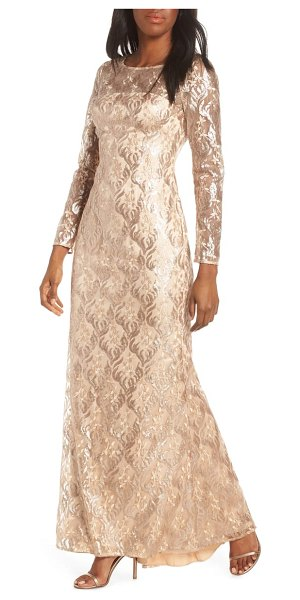 Eliza J sequin mesh long sleeve gown in beige