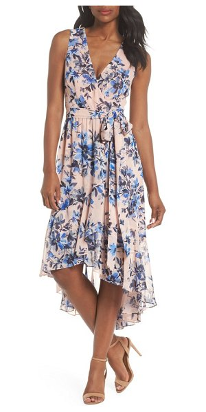 Eliza J sleeveless high/low dress in blush/ blue - Styled in romantic chiffon, this floral frock features a...