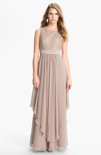 Eliza J sleeveless lace & chiffon gown in taupe - Delicate lace overlays a sleeveless bodice and enhances...