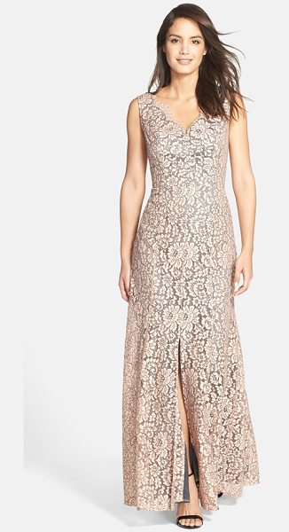 Eliza J sleeveless lace gown in blush - A subtle front slit adds modern allure to a romantic...